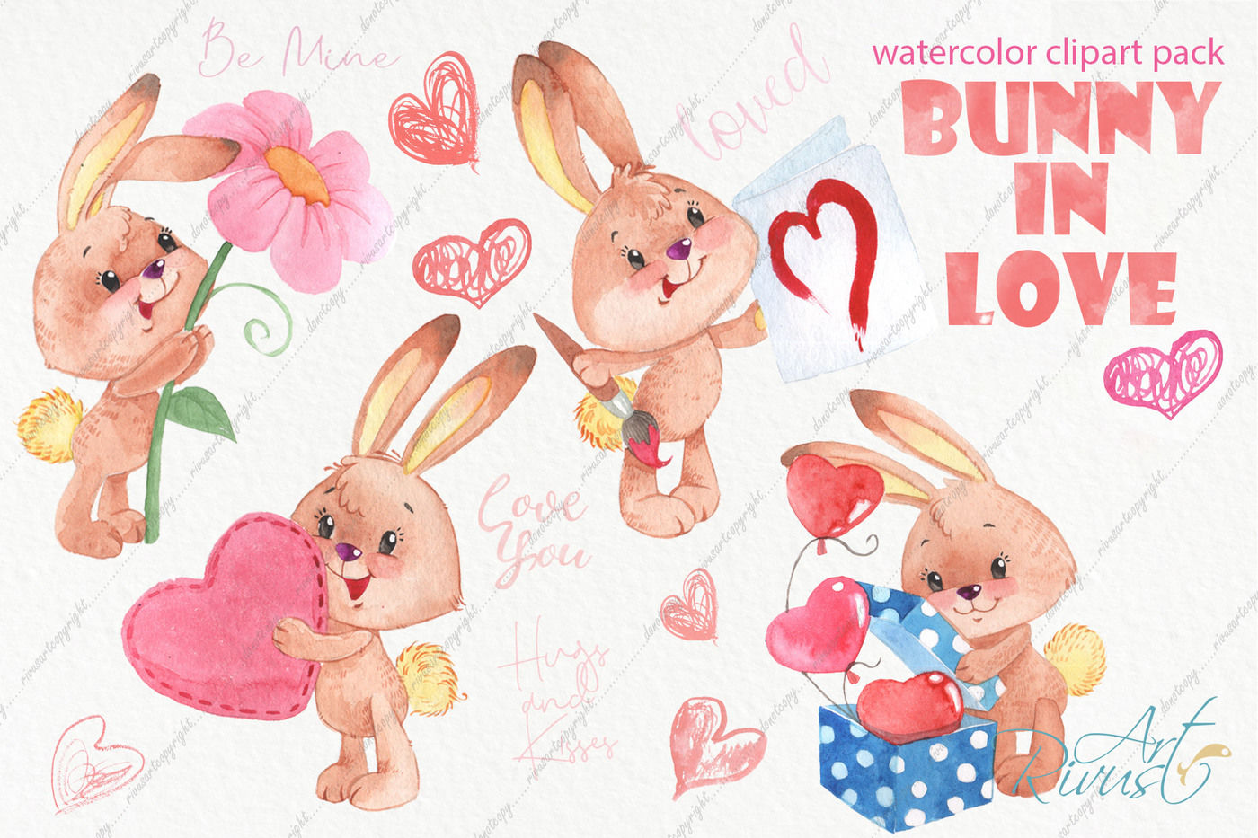 Bunny rules clipart clip art royalty free library Watercolor bunny and hearts clip art pack By Rivus Art ... clip art royalty free library