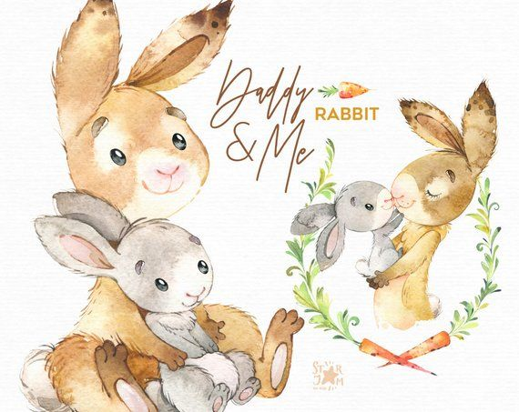 Bunny rules clipart graphic transparent library Daddy & Me. Rabbit Watercolor animals clipart, father, hugs, family ... graphic transparent library