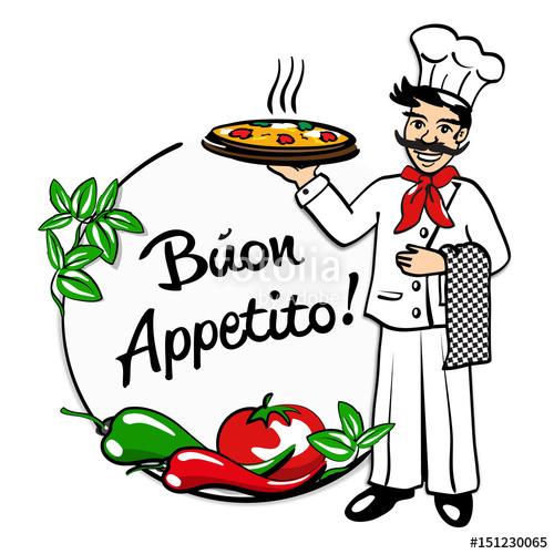 Buon appetito clipart graphic free stock Pizzabaecker, Schriftzug Buon Appetito, coloriert\