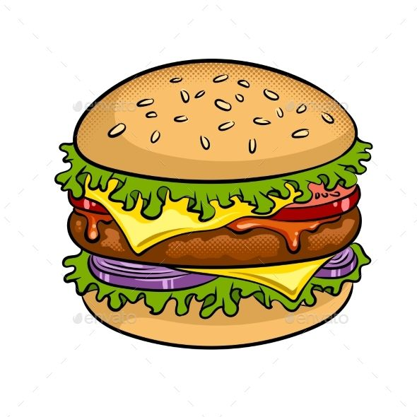 Burger and sandwich clipart png library download Burger Sandwich Pop Art Vector Illustration | Fonts-logos-icons in ... png library download