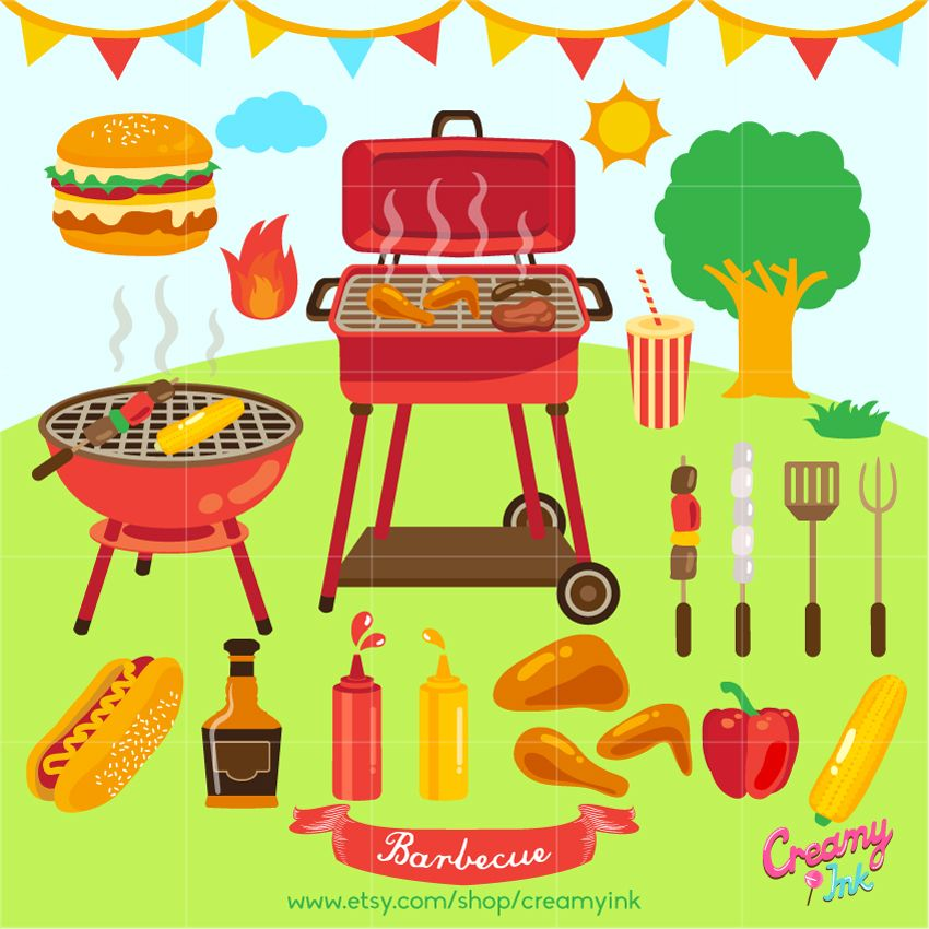 Burgers hotdogs grill clipart clip art free download Summer Barbecue clip art featuring grill, hamburger, hotdog, bbq ... clip art free download