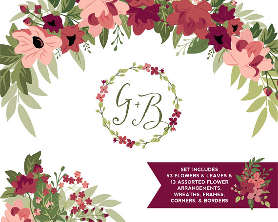 Burgundy floral borders cliparts image stock Burgundy & Greenery Flower ClipArt | Tawny Port and Ballet Slipper ... image stock