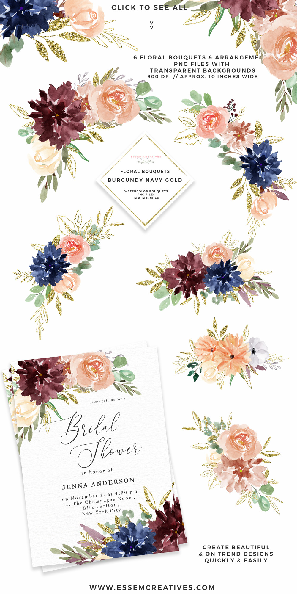 Burgundy floral borders cliparts vector transparent Burgundy Navy Gold Watercolor Flowers Clipart, Geometric Gold Glitter  Floral Frames vector transparent