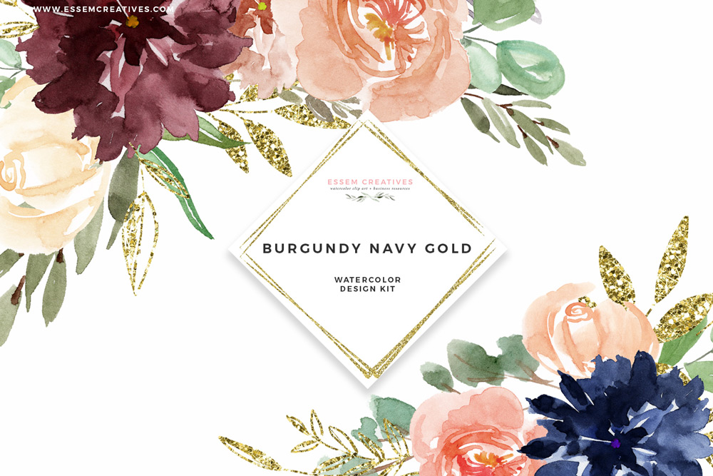 Burgundy floral borders cliparts jpg royalty free download Burgundy Navy Gold Watercolor Flowers Clipart, Geometric Gold Glitter  Floral Frames jpg royalty free download