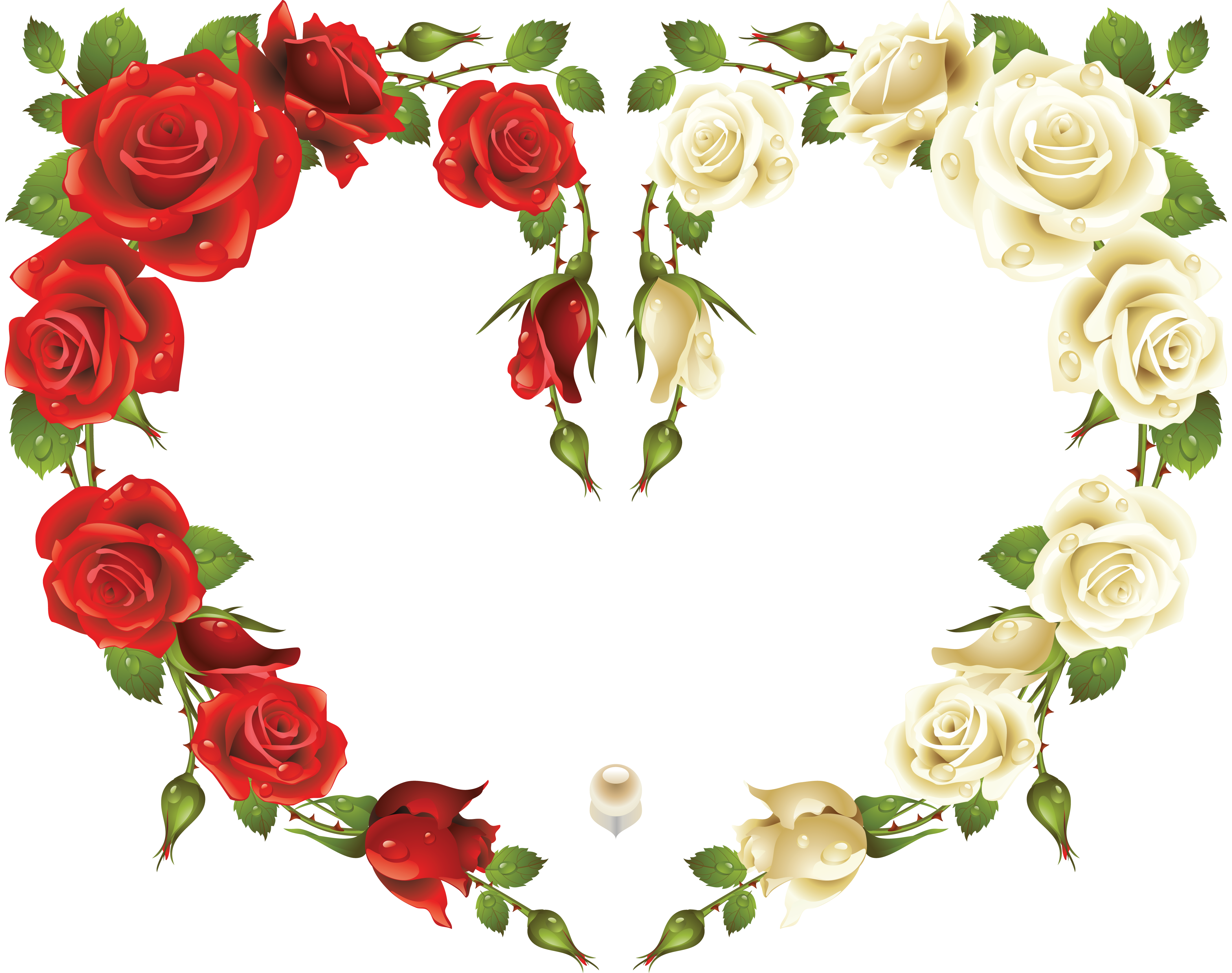 Free rose heart clipart clip library Large Transparent Heart Frame with Red and White Roses | Gallery ... clip library