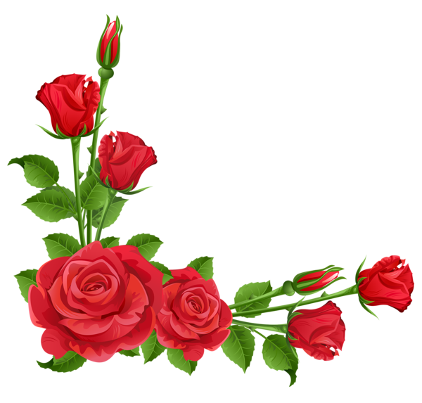 Red flower border clipart