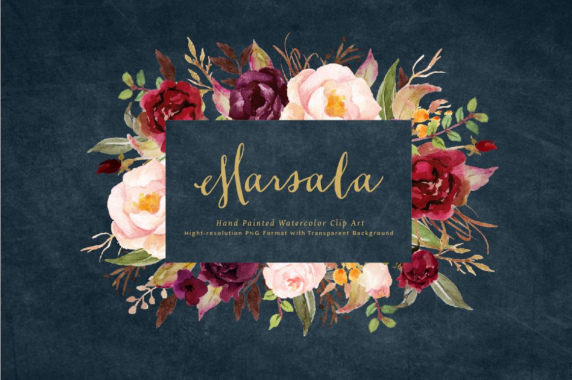Burgundy marsala flowers clipart image transparent Watercolor flower Clip Art-Marsala on Behance image transparent