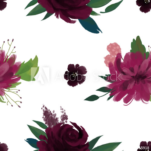 Burgundy marsala flowers clipart clip art stock Seamless pattern with pink burgundy marsala flowers and leaves - Buy ... clip art stock