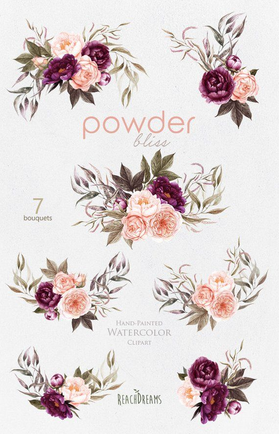 Burgundy misty pink with greenery flowers clipart clip transparent Peonies Flowers Watercolor, Roses, Floral bouquets, Powder, Plum ... clip transparent