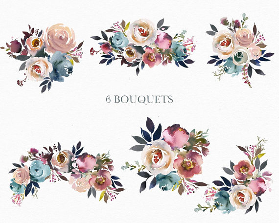 Burgundy misty pink with greenery flowers clipart picture stock Watercolor Pastelle Flowers Digital Clipart PNG Bouquets Peonies ... picture stock