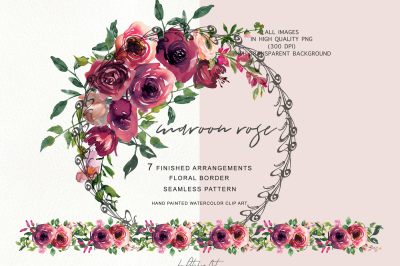 Burgundy misty pink with greenery flowers clipart clip transparent library Patishop Art|341 Design Products|TheHungryJPEG.com clip transparent library