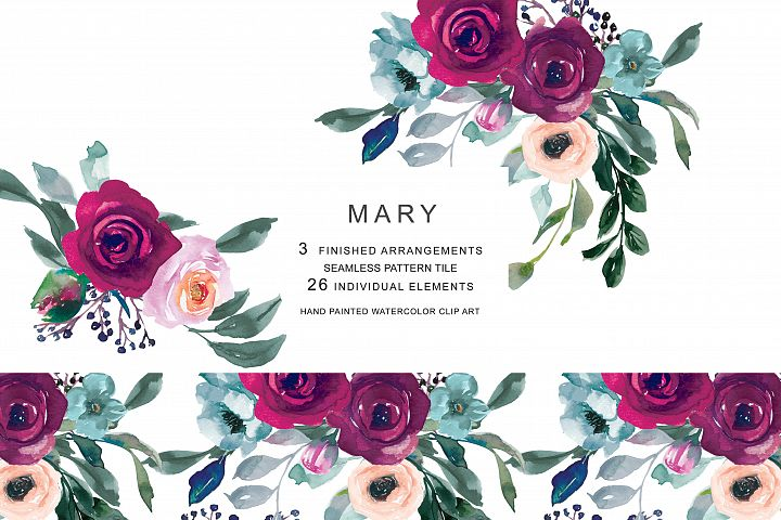 Burgundy misty pink with greenery flowers clipart jpg royalty free download Patishopart - Page 2 | Design Bundles jpg royalty free download