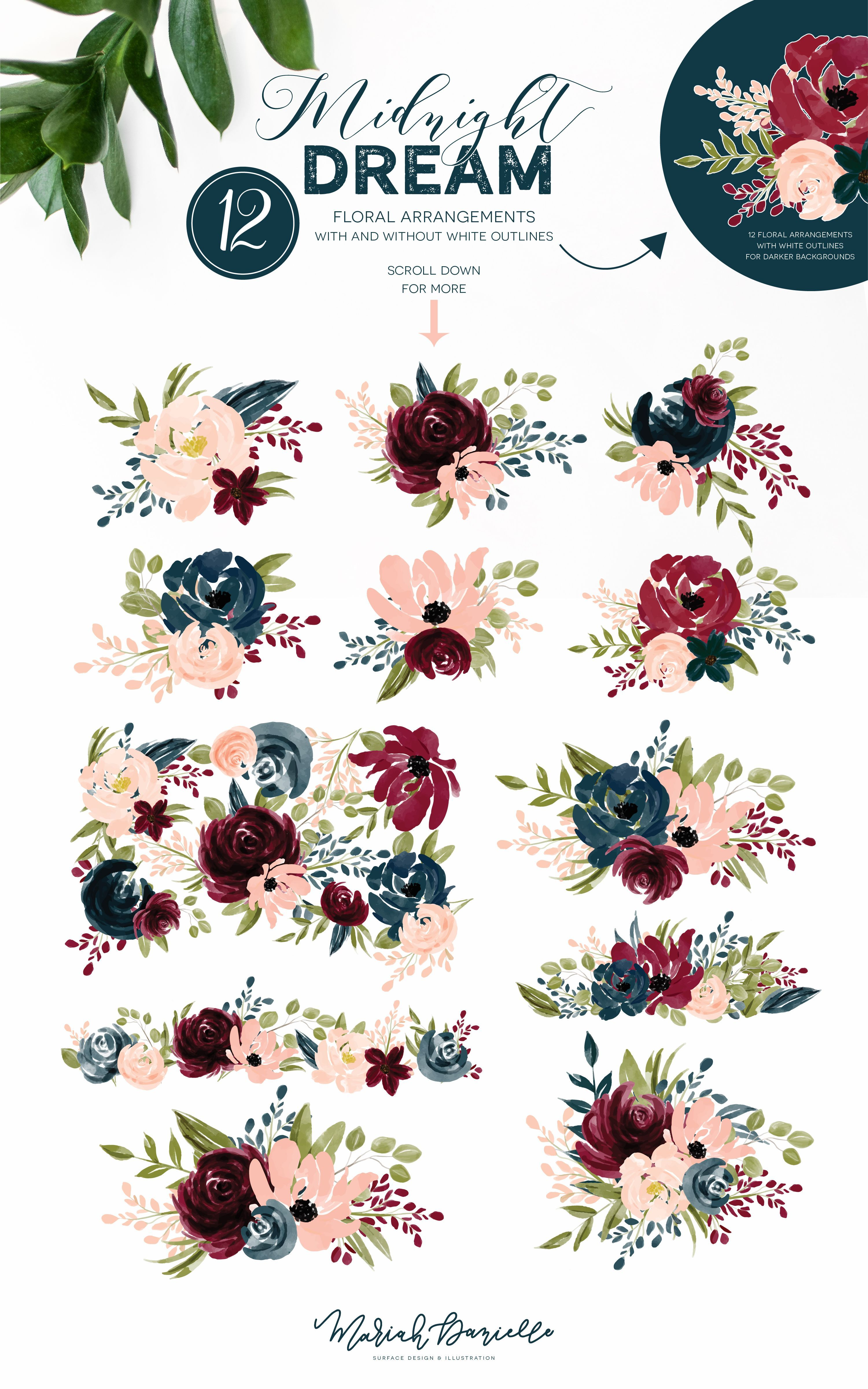 Burgundy misty pink with greenery flowers clipart clip art freeuse library Burgundy & Navy Flower Graphic Set - Illustrations | Hand Drawn ... clip art freeuse library