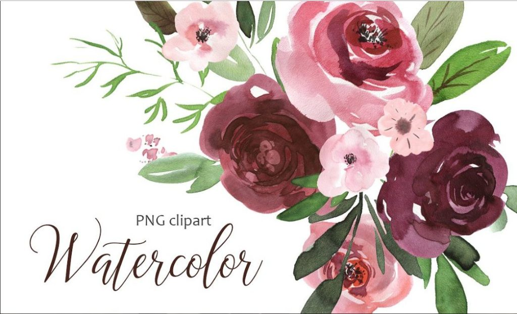 Burgundy misty pink with greenery flowers clipart jpg transparent library 1k+ watercolor flower clipart and floral designs - Texty Cafe jpg transparent library