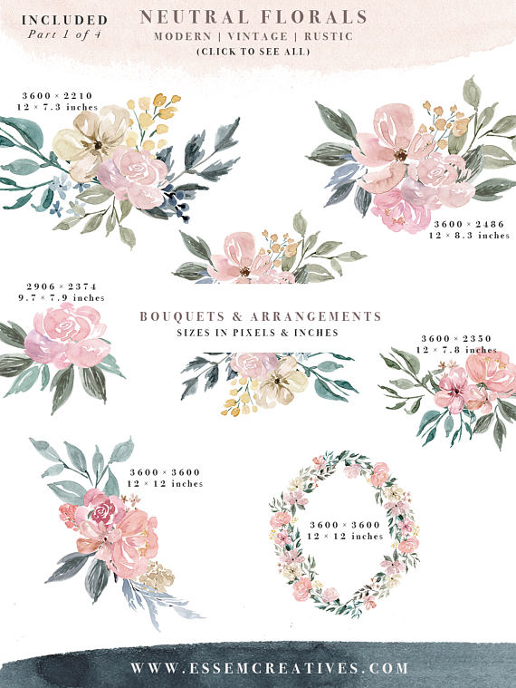 Burgundy misty pink with greenery flowers clipart picture transparent Neutral Watercolor Flowers Clipart, Watercolor Background, Rustic ... picture transparent