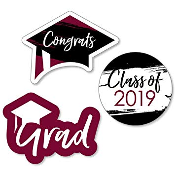 Burgundy & sign clipart clip art library stock Maroon Grad - Best is Yet to Come - DIY Shaped Burgundy 2019 Graduation  Party Cut-Outs - 24 Count clip art library stock