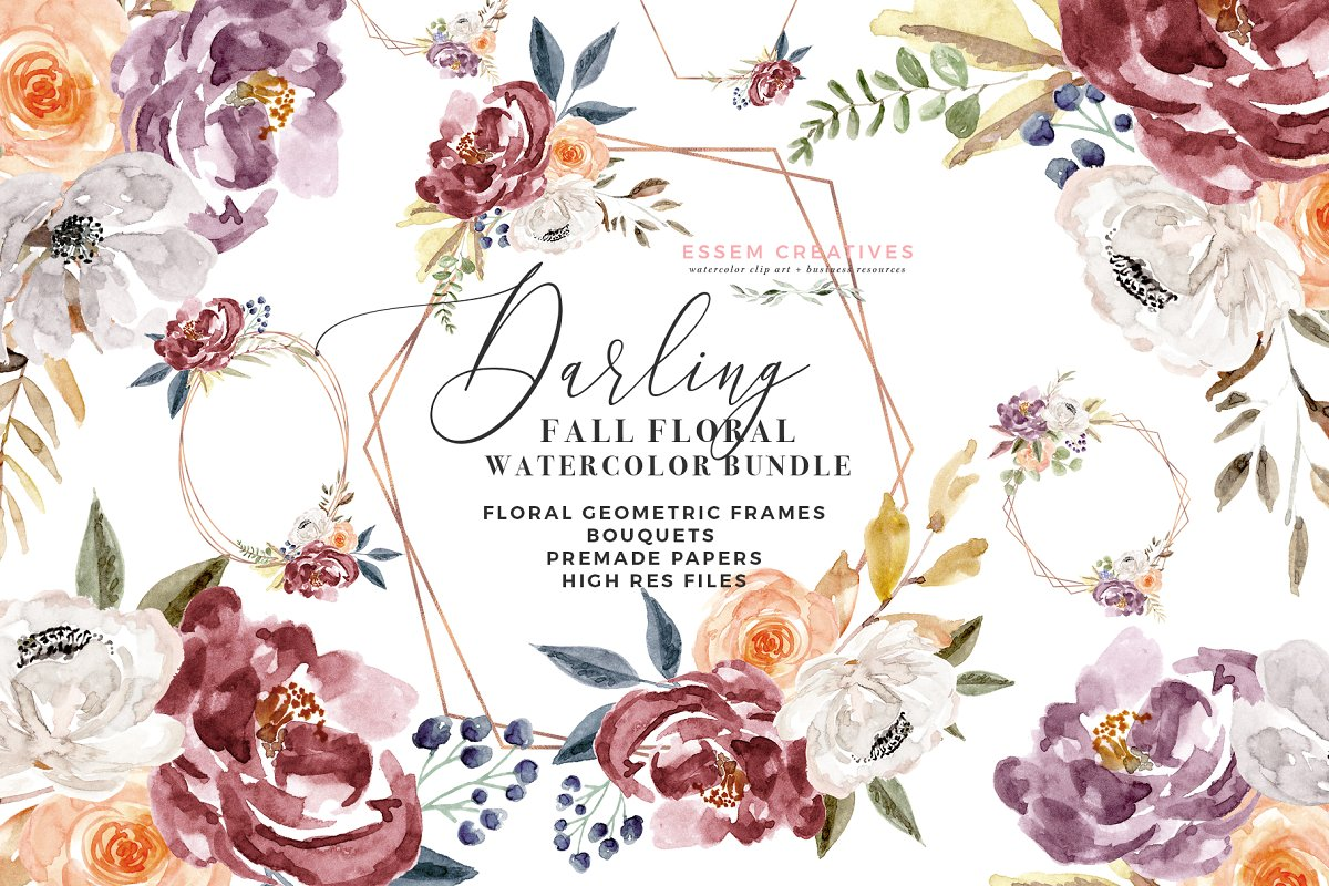 Burgundy & sign clipart clip royalty free stock Watercolor Floral Clipart - Burgundy ~ Illustrations ~ Creative Market clip royalty free stock
