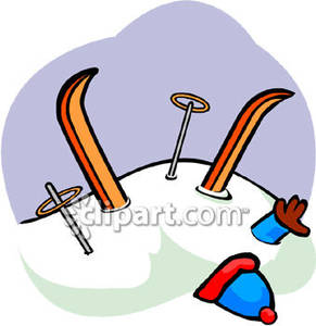 Buried in snow clipart jpg black and white Clumsy Skier Buried In Snow - Royalty Free Clipart Picture jpg black and white
