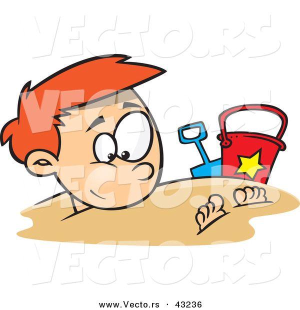 Buried ssand clipart jpg stock Vector of a Cartoon Boy Buried Under Beach Sand | keramika jpg stock