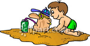 Buried ssand clipart image royalty free library A Child Burying a Man In the Sand Royalty Free Clipart Picture image royalty free library