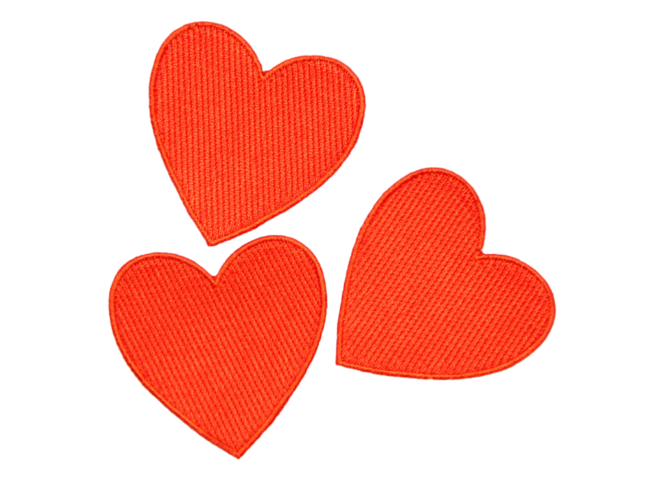 Burlap heart clipart vector free stock Mini Rodini Embroidery Patch HEART - Orange Mayonnaise vector free stock