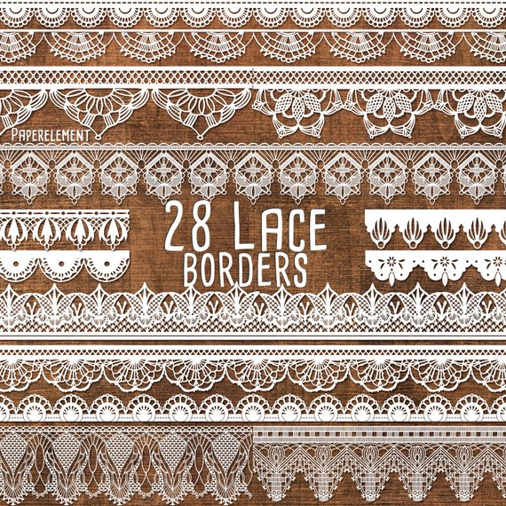 Burlap lace clipart black and white border jpg black and white Lace Border Clipart Pack: Lace Border Clip Art, Lace Trim, Lace ... jpg black and white