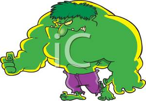 Burly clipart vector royalty free stock A Cartoon of a Green Burly Monster - Royalty Free Clipart Picture vector royalty free stock