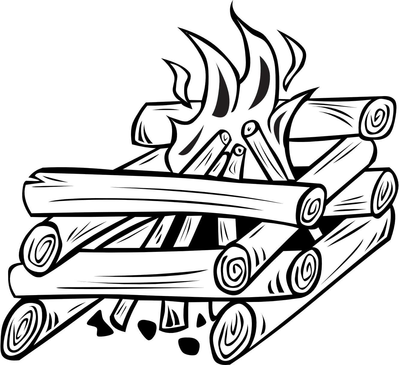 Clipart thanksgiving cooked black and white transparent download Black And White Campfire Clipart | Clipart Panda - Free Clipart Images transparent download