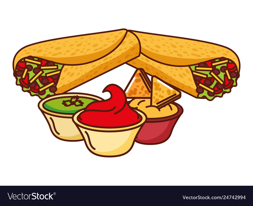 Burritos and bowls clipart picture freeuse stock Burritos and sauces in bowl mexican food picture freeuse stock