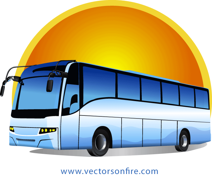 Bus and car clipart vector black and white library Free Tour Bus at Sunrise by Mihai Ionascu PSD files, vectors ... vector black and white library
