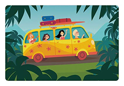 Bus full of happy people clipart graphic royalty free stock Amazon.com: Lunarable Happy Camper Pet Mat for Food and Water, Happy ... graphic royalty free stock