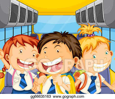 Bus full of happy people clipart graphic free download Vector Illustration - Happy kids inside the schoolbus. Stock Clip ... graphic free download