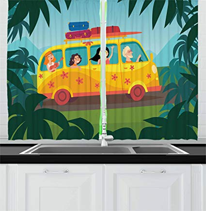 Bus full of happy people clipart clipart Amazon.com: Lunarable Happy Camper Kitchen Curtains, Happy People in ... clipart