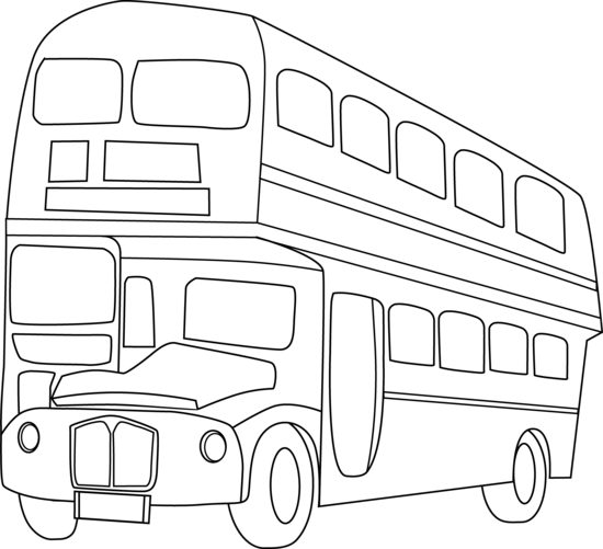 Bus line clipart image black and white library Double Decker Bus Line Art - Free Clip Art image black and white library