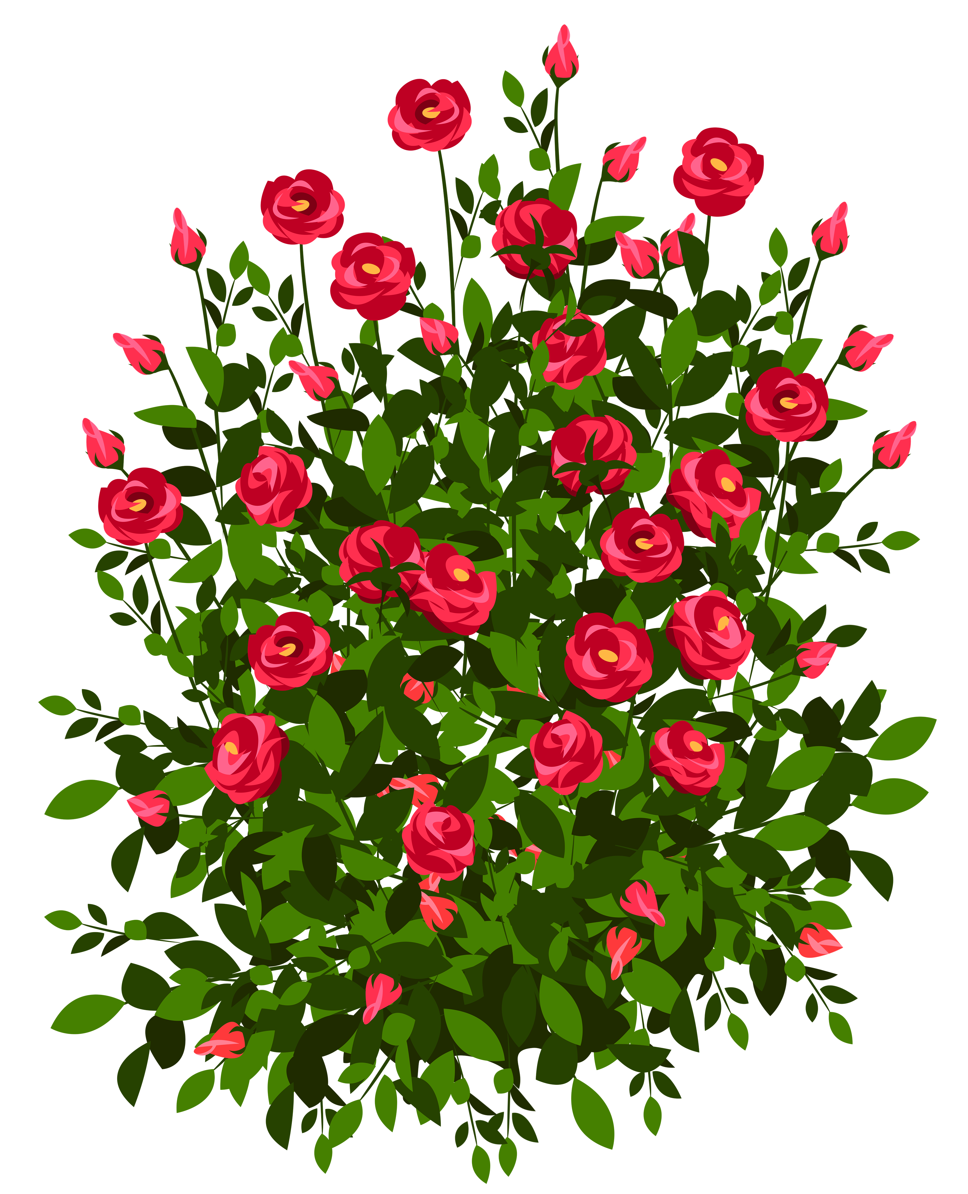 Flower plant clipart graphic royalty free download Red Rose Bush PNG Clipart Picture | Gallery Yopriceville - High ... graphic royalty free download