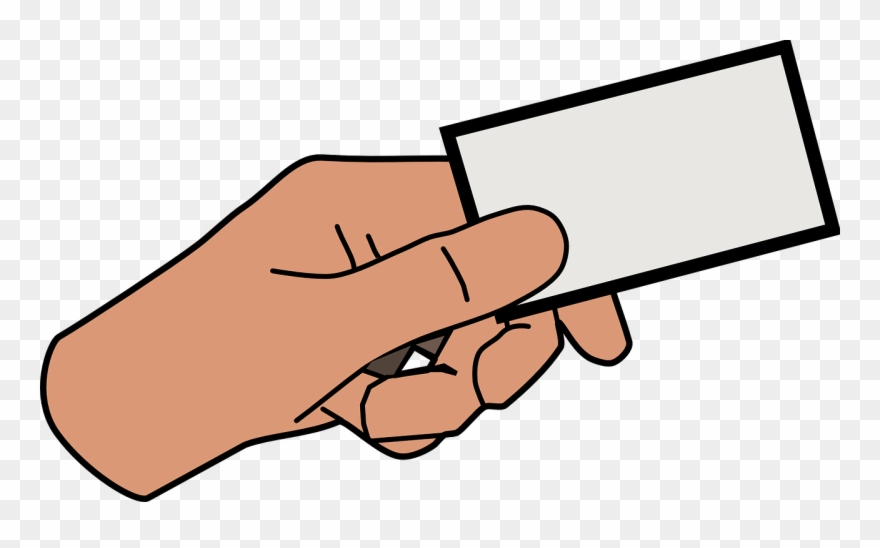 Hand holding card clipart