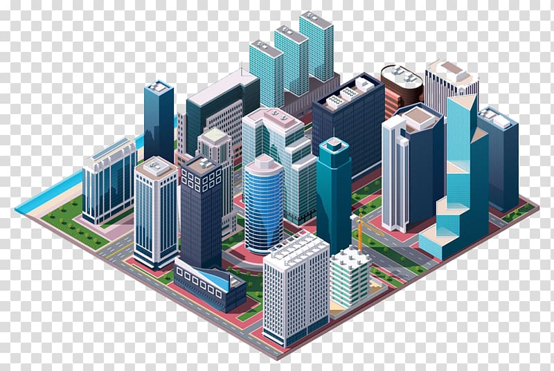 Business center clipart banner royalty free library Buildings illustration, Isometric projection Building Illustration ... banner royalty free library
