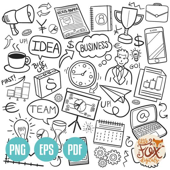 Business design clipart vector transparent download VECTOR EPS Business Financial Work Doodle Icons Clipart Scrapbook ... vector transparent download