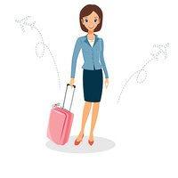 Business trip clipart svg black and white library Woman IN A Business Suit With Business Travel Concept stock vectors ... svg black and white library