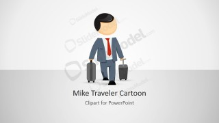 Business trip clipart image Mike Business Traveler Cartoon for PowerPoint - SlideModel image