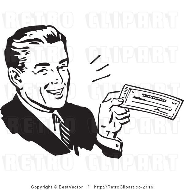 Businessman clipart black and white banner black and white stock Royalty Free Black and White Vector Clip Art of a Smiling Retro ... banner black and white stock