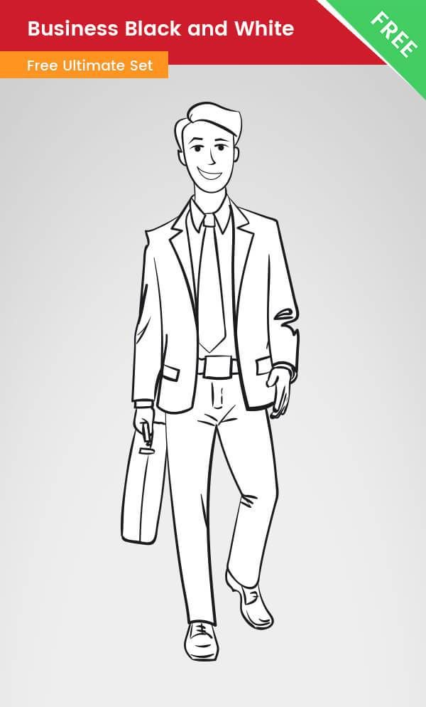 Businessman clipart black and white library A Business clipart of a man made in black and white style. This ... library