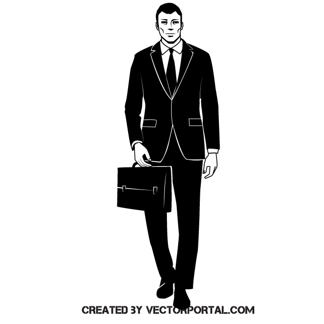Businessman clipart black and white svg royalty free download Businessman clip art vector image - Free vector image in AI and EPS ... svg royalty free download