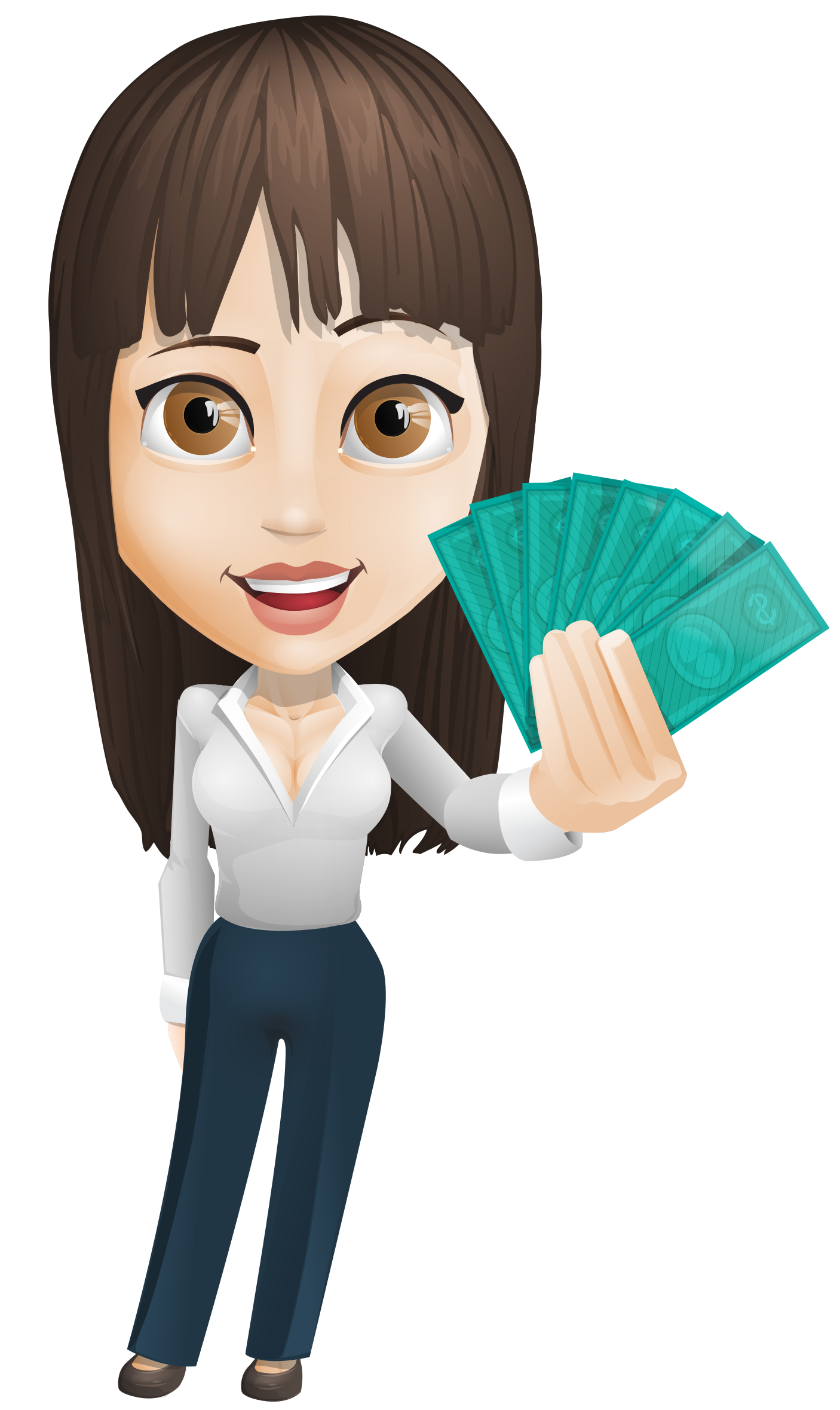 Woman carrying money clipart transparent library Businesswoman Vector Holding Money - http://www.dailystockphoto.net ... transparent library