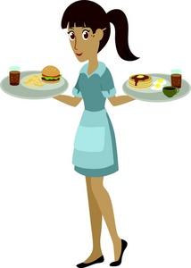 Cartoon waitress clipart