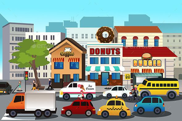 Busy city street clipart