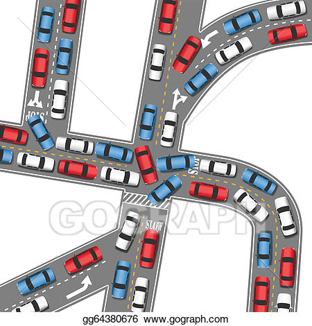 Busy road clipart banner freeuse stock EPS Illustration - Auto traffic jam busy road cars drive. Vector ... banner freeuse stock