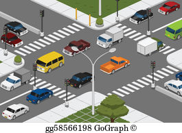 Busy road clipart clipart free Intersection Clip Art - Royalty Free - GoGraph clipart free