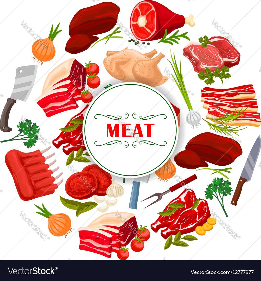 Butcher shop clipart vector Butcher shop meat or butchery poster vector