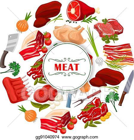Butchery clipart jpg royalty free Vector Art - Butcher shop meat or butchery vector poster. Clipart ... jpg royalty free